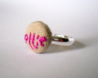 Personalised Name Ring - Linen Fabric and Pink Stitched Silver Ring, Embroidered Button Ring, Personalised Jewellery