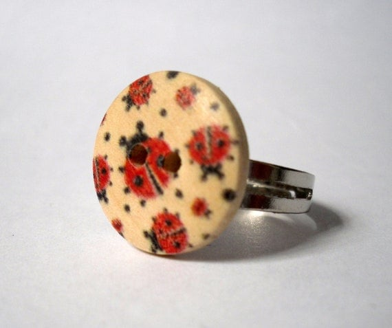 Ladybird Wooden Button Ring, Round Red and Black Ladybird Silver Ring