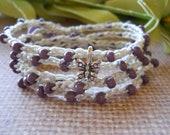 Boho wrap bracelet PURPLE REIGN crochet wrap bohemian, hippie chic, anklet
