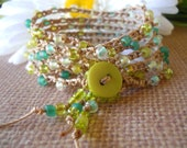 Crochet wrap, bohemian, hippie chic,anklet, necklace -COUNTRY ROADS-  wrapped, bracelet