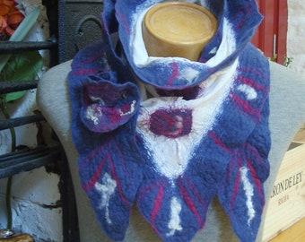 Nuno felted scarf, winter scarves, merino wool scarf, wool felted scarf, Blue scarf, winter accessories