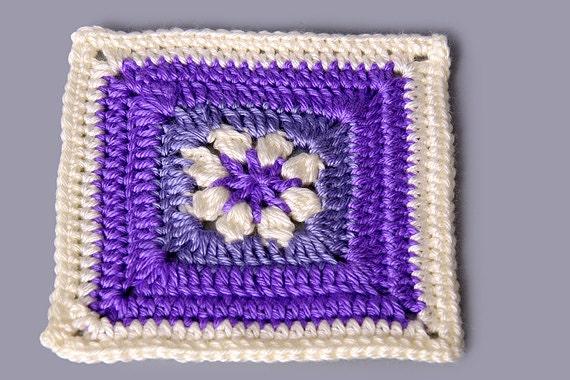 1 Inch Crochet Flower Pattern : PDF PATTERN FILE 6 Inch Flower Square Crochet Pattern