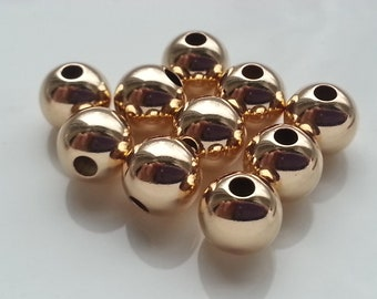 10 Pieces 14k Gold Filled Large Beads 6mm