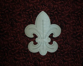 Fleur Di Lis Fancy Layered Wood cut out Unfinished Wooden cut outs   5.75 x 7 inch
