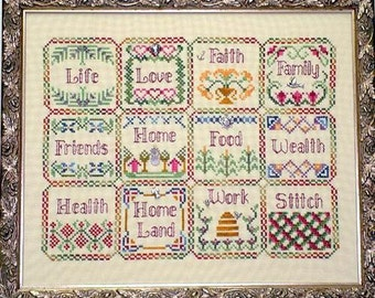 Handblessings Blessings Sampler Quilt Cross Stitch Pattern w/charms