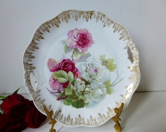 Bavarian Rose Cake Plate with handles by Zeh Scherzer &Co  c 1900