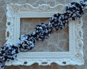 1/2 Yard  Zebra Shabby Frayed Fabric Flowers Wholesale - ZEBRA - Wholesale Embellishments - Frayed Flowers
