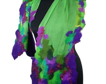 Felted Scarf Purple Green Scarf Fashion Wrap Scarves Art Shawl Felt Nunofelt Nuno felt Silk lilac violet jade green Eco shawl Boho Fiber Art