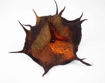 Brown Felted Brooch Amber Flower felt nuno nunofelt silk flower folk boho sea green wearable art fairy