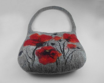 Felted Bag Poppy Poppies Handbag Purse wild Felt Nunofelt Nuno felt Silk Silkyfelted fairy fantasy shoulder bag Fiber Art boho