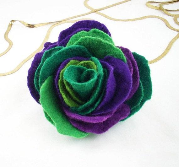 Multicolor Brooch Green Brooch Felt Brooch Nunofelt flower Jade Flower Felted wool Brooch purple lilac green folk boho wool victorian fairy