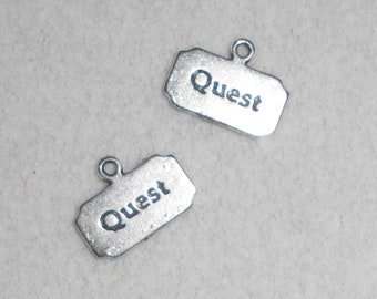 """Silver """"Quest"""" saying Charms"""