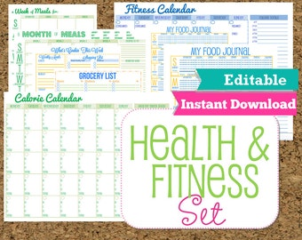 EDITABLE and INSTANT DOWNLOAD Fitness and Health Printables Set-Workout Planner-8 Documents