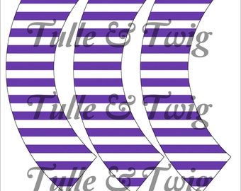 Violet & White Stripe Cupcake Wrappers Printable INSTANT DOWNLOAD