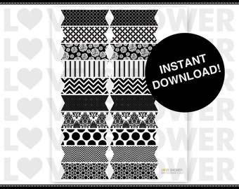 Straw Flag or Food Flags or Drink Flags - Black and White Various Patterns - Instant Download - Printable