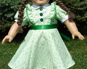 1940's Green Rick Rack Dress made to fit 18 inch dolls