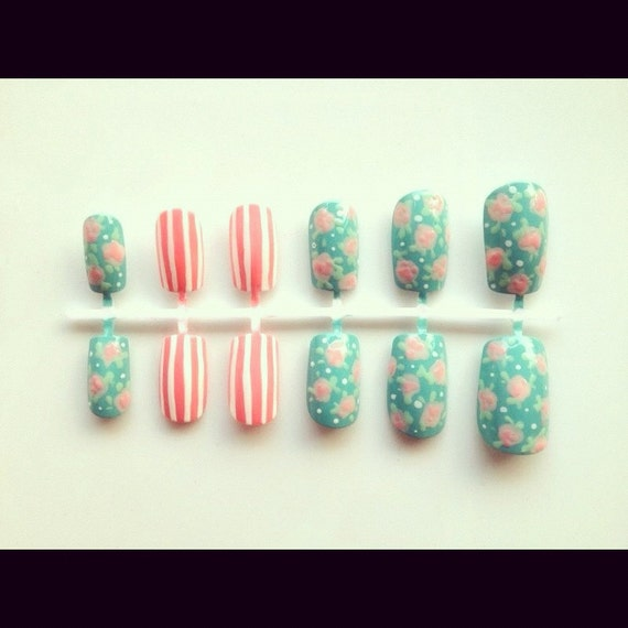 Nail Arts By Rozemist Cath Kidston Vintage Inspired: Cath Kidston Inspired Nail Set By Goobynails On Etsy
