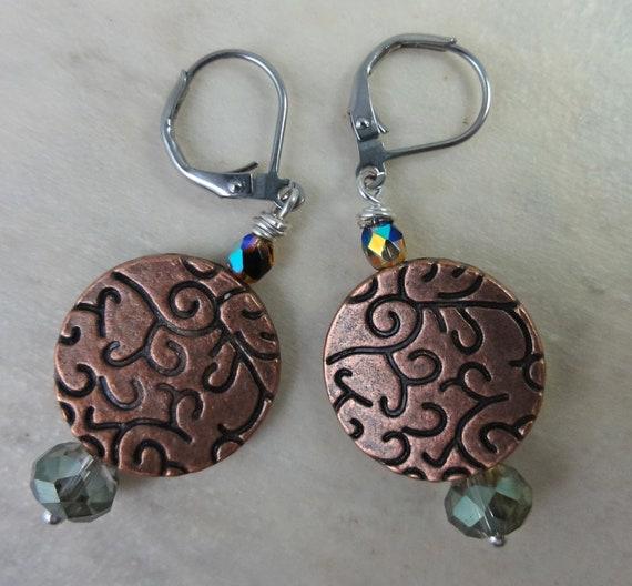 Copper Earrings, Czech Bead Earrings