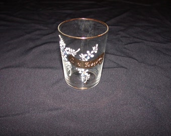 ON SALE   Small Little Glass with Painted Flowers