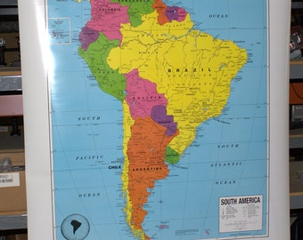 """vintage Crams South America pull down map 54 1/2""""w x62 1/2""""l"""