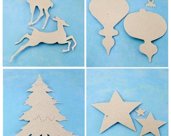Christmas Die Cut Chipboard - Your Choice of Tree, Reindeer, Ornaments or Stars