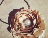 Vintage Inspired Skinny Headband with Ranunculus Flower