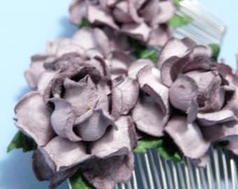Dusty Purple Rose Hair Comb/ Vintage/ Antiqued/ Bridal/ Wedding Hair Accessories/ Bridesmaid Hair Fascinator