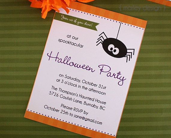 Halloween Party Invitation Printable Party Invite Digital – Halloween Party Invitations for Kids