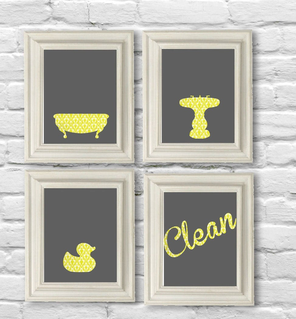 Digital Download Bathroom Set In Yellow Damask And Gray