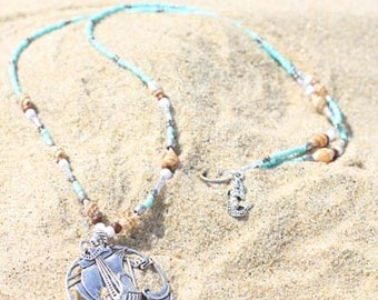Mermaid/Pirate Ship Beaded and Shell Necklace