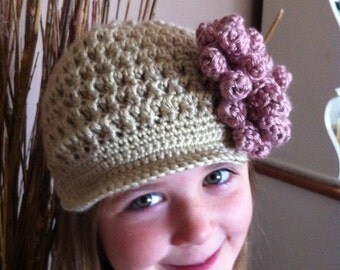 Girls Crochet Newsboy  Hat done in tan with rose flower and wood button center