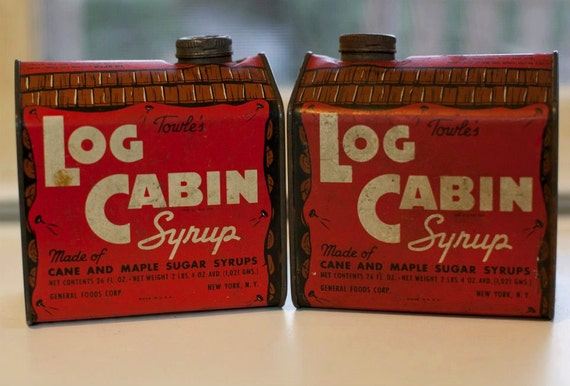 Vintage towels log cabin maple syrup tin new york