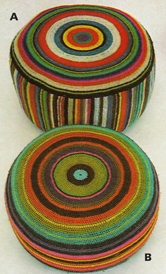 Crochet Pattern Retro Floor Cushion, Pouffa, Large Cushion DK Yarn PDF Instant Download No 4