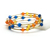 Florida Memory Wire Bracelet - Blue and Orange and a Little Sunshine - Capri Blue Sun Sunflower Swavorski Crystal