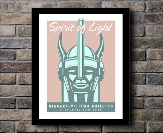 Spirit of Light Niagara Mohawk Building Syracuse NY Digital Print - 11x14