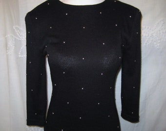 Black Sweater Dress, form fitting, party evening dress, Size Small, silver beaded, Made in USA