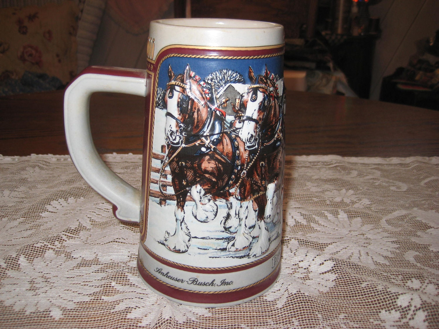 1989 collectible budweiser beer stein by endlesslyvintage on etsy