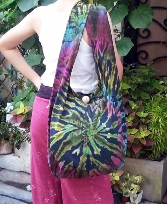 FREE SHIPPING - Handmade Tie Dye Hobo bag Shoulder bag Cross-body - cotton fabric - ready to ship -