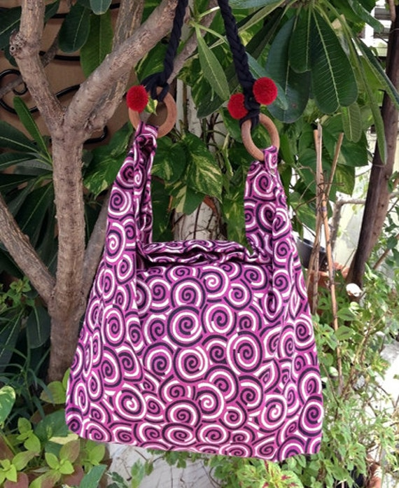 FREE SHIPPING - Handmade Hobo bag Tote bag - cotton fabric - violet red - ready to ship -