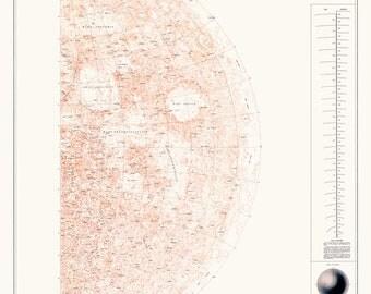 Moon globe, Astronomy print, Moon, Moon map, 102