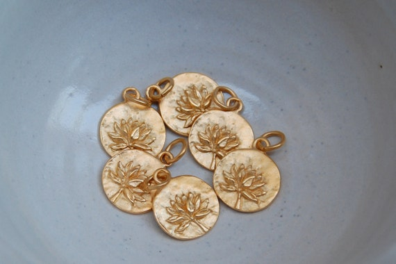 Pendant for necklace with lotus flower charm in 24k double plated gold