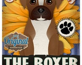 Dogs and Flowers Art Print - Boxer Art Print 11 x 14
