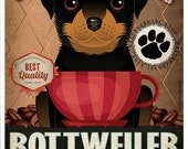 Rottweiler Coffee Bean Company Original Art Print - Custom Dog Breed Print -11x14-Customize with Your Dog's Name