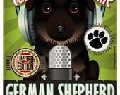 German Shepherd Recording Studio Original Art Print - Custom Dog Breed Print - 11x14