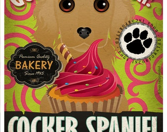Cocker Spaniel Cupcake Company Original Art Print - Custom Dog Breed Art - 11x14 - Personalize with Your Dog's Name - Dogs Incorporated