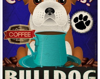 Bulldog Coffee Bean Company Original Art Print - 11x14 - Personalize with Your Dog's Name
