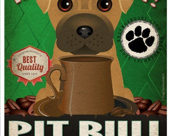 Pit Bull Coffee Bean Company Original Art Print - 11x14- Personalize with Your Dog's Name