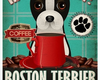 Boston Terrier Coffee Bean Company Original Art Print - 11x14- Personalize with Your Dog's Name