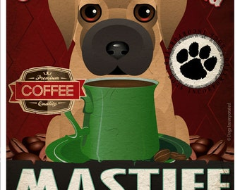 Mastiff Coffee Bean Company Original Art Print - 11x14 - Personalize with Your Dog's Name