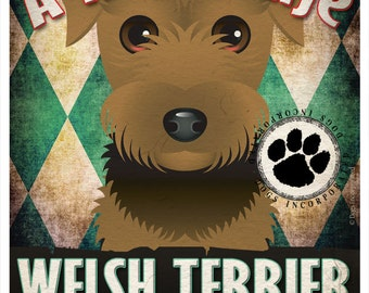 Welsh Terrier Pampered Pups Original Art Print - 11x14 - Dog Poster - Dogs Incorporated